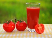 一杯西红柿汁用在一张黄色和白的方格的桌布的蕃茄 图库摄影