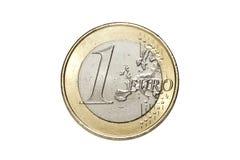 一枚一欧元硬币 库存图片