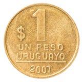 一枚乌拉圭比索硬币 库存图片