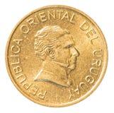 一枚乌拉圭比索硬币 免版税图库摄影
