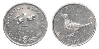 一枚克罗地亚人Kuna硬币 图库摄影