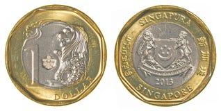 一枚新加坡美元硬币 免版税库存照片