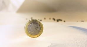 一枚欧洲硬币在沙漠 免版税库存图片