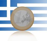 一枚欧洲硬币有希腊旗子背景 库存照片