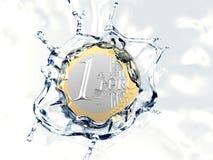 一枚欧洲硬币落入水 库存图片