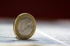 一枚欧洲硬币-储蓄图象 图库摄影