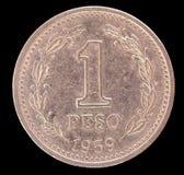 一枚比索硬币尾巴,在1959年发布阿根廷 图库摄影