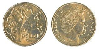 一枚澳大利亚元硬币 库存照片