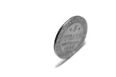 一枚硬币,隔绝在白色背景,黑白照片 图库摄影
