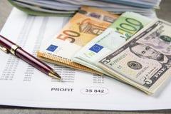 一枚笔、计算器和硬币的企业经营情况的概念图象在财政文件 图库摄影