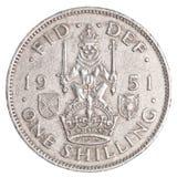 一枚老英国先令硬币 免版税库存图片