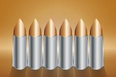 一枚铜子弹的六个回合连续站立 库存图片