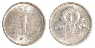 一枚韩国被赢取的硬币 免版税库存图片