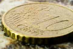 一枚10分硬币的宏指令 免版税图库摄影