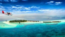 一架水上飞机的鸟瞰图在马尔代夫 库存照片