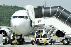 一架班机的储蓄图象在机场 库存图片