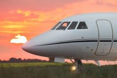 一架私人企业喷气机的鼻子 库存照片