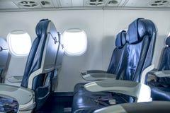 一架空的飞机的内部 免版税库存照片