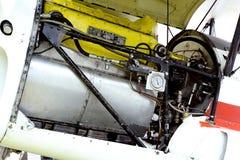 一架老双翼飞机Stampe的引擎的细节 免版税库存照片