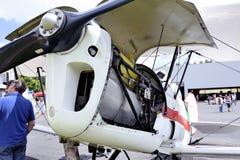 一架老双翼飞机Stampe的引擎的细节 库存图片