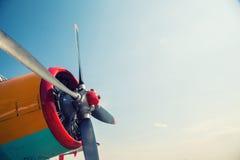 一架老飞机的引擎 库存图片