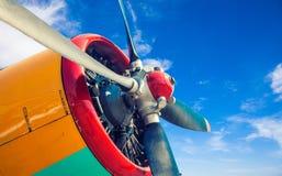 一架老飞机的引擎 免版税库存照片