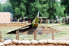 一架被碰撞的老飞机的看法 免版税图库摄影
