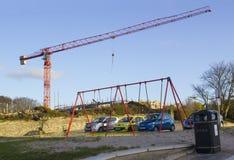一架静态塔吊的例子在使用中在Ballyholme唐郡北爱尔兰的一个工程项目在2018年1月 库存图片