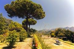 一架飞行直升机在一家豪华旅馆的一个美丽的庭院里在意大利 免版税图库摄影