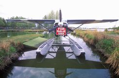 一架水上飞机待售在安克雷奇,阿拉斯加 免版税图库摄影