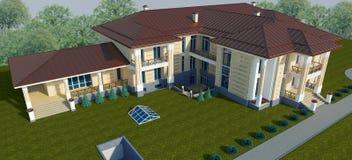 一栋别墅的外部在一张经典样式顶视图的 3d例证 库存照片