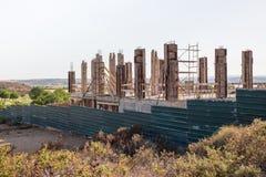 一栋别墅的建筑混凝土桩在西班牙 免版税库存图片
