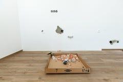 一栋新的公寓的重建 免版税库存照片