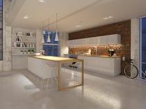 一栋新的现代城市顶楼公寓的3D例证在夜之前 3d?? 向量例证