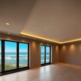 一栋现代公寓的客厅,海视图 免版税库存图片