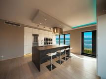 一栋现代公寓,厨房的内部有海视图 库存照片