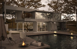 一栋minimalistic别墅的外部与水池的 皇族释放例证