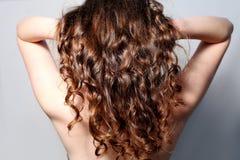一根卷曲妇女的头发的特写镜头背面图 库存照片