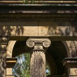 一根古老柱子的头 图库摄影