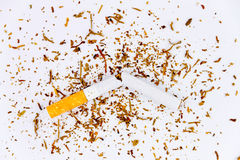 一根残破的香烟的特写镜头 免版税图库摄影