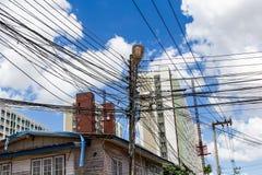 一根电杆的照片 免版税库存图片