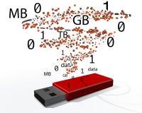 一根红色USB棍子的例证 库存图片