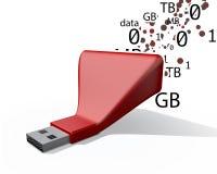 一根红色USB棍子的例证 图库摄影