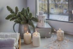 一棵圣诞树的分支在锌投手的在窗口 诗歌选被点燃,并且蜡烛烧 免版税库存照片