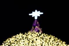 一棵圣诞树的圣诞灯有黑背景 免版税库存图片