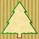 一棵圣诞树的概述与金黄条纹的 库存照片