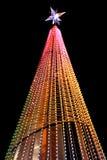 一棵明亮地被点燃的圣诞树 免版税库存照片