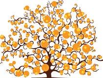 一棵树的图画与被潦草地写的叶子的 免版税库存图片