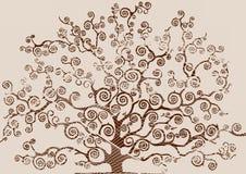 一棵树的图画与被潦草地写的叶子的 免版税库存照片