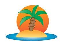 一棵棕榈树的例证在小的海岛的 免版税库存图片